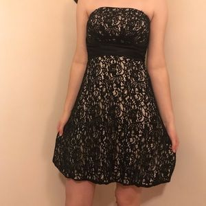 White House Black Market strapless lace dress